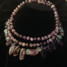 Translucent Amethyst Collar Necklace, Beautiful, Genuine mixed types of Amethysts  26 inch Strand of 6 inch polished beads,layered with chunky shards
