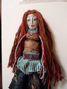 TRANSFORMED: Thrift Store Cloth Doll into ARTSY KITCHEN WITCH GYPSY - TOYS, DOLLS AND PLAYTHINGS