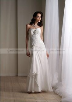 Excellent A-line Strapless Floor-length Chiffon With Beadings Beach Wedding Dresses for 2013 Bride