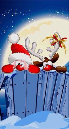 Santa y el reno - Christmas Scenes, Christmas Wishes, Christmas Pictures, Christmas Art, Vintage Christmas, Christmas Decorations, Christmas Ornaments, Funny Christmas, Christmas Landscape