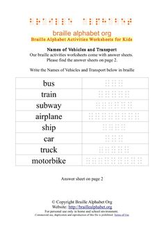 Braille Vehicles & Transport :Bus, Train, Subway, Airplane, Ship, Car, Truck, Motorbike/   Braille Alphabet Org