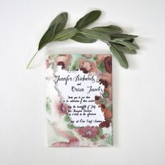 Louelle Design Studio Floral Watercolor  Wedding Invitation Lives Styled