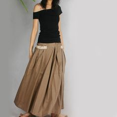 RED POCKET silky linen Long Skirt Q1001 by idea2lifestyle on Etsy
