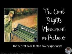 Civil Rights Movement in Pictures   This Presentation is the best collection of pictures to lead a discussion on the key points of the Civil Rights Movement.   Many of the images are ones often seen in standardized testing and cover  topics such as segregation, Brown versus Board of Education, the famous  marches, Martin Luther King, Jr., Rosa Parks and the Montgomery Bus  Boycott, the student movements (SNCC and CORE) and so much more.