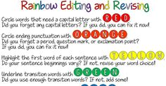 Another strategy students can use to practice revising and editing their writing. Students may be really drawn to the rainbow idea as long as it does not get so cluttered that they can not see their original writing anymore. Writing Mini Lessons, Writing Classes, Writing Workshop, Teaching Writing, Teaching Ideas, Writing Centers, Teaching English, Writing Strategies, Editing Writing