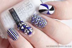 Navy, white, silver, & black stripes, chevron, & swirly nail art