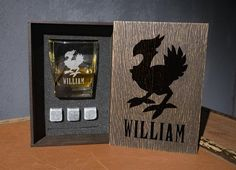 Chocobo coaster and glass and 3 whiskey stones in personalized wood box. FF personalized whiskey gift set Whiskey Gift Set, Leather Coasters, Glass Boxes, Light Oak, Wood Boxes, Wood Species, Italian Leather, Real Leather, Handicraft