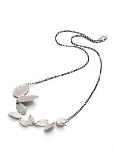 """Alight Silver Butterfly Necklace by Jeanine Payer on Gilt.com    Sterling silver butterfly station necklace with """"Flow down and down in always widening rings of being. - Rumi"""" engraved details"""