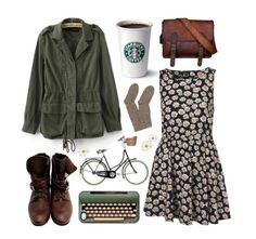 Daisy dress Boots Typewriter Bike Leather satchel Cozy socks Cute jacket Starbucks