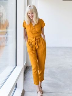 linen jumpsuit - Jumpsuits and Romper Yellow Jumpsuit, Jumpsuit Outfit, Summer Jumpsuit, Wrap Jumpsuit, White Romper, Short Jumpsuit, Dress Outfits, Dress Shoes, Clothing Styles