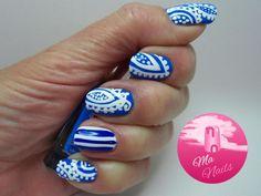 Blue Paisley Pattern Nails - Ma Nails