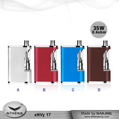 eNVy 17 is all-in-one box mod,designed with changeable 17mm atomizer on it, its compact size and delicate body make it confortable to hold Size:78.5X50.5X22.5mm Net Weight:107g 5 colors available Thread: 510 thread Capacity: 2100 mAh Adjustable from 2W to 35W 1.0-8.5 V atomizer resistance range: 0.4ohm - 4.0ohm  http://sz-sailing.en.alibaba.com Email:manager@szsail.net #smoking #smoker #vape #vaping #ecigarette #vapordna #vaper #vaping #vapestyle #vapelife #ecig #vaporizer #EcigUK #Cloud #Vape