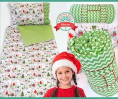 Sleepover Bag with Matching Pillowcase: Deck The Halls with Fabric.com | Sew4Home