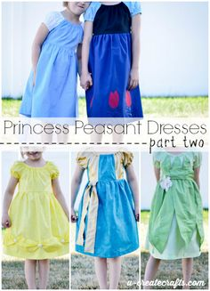 Same dress pattern but different princesses! Great dress up dresses sewing tutorial.