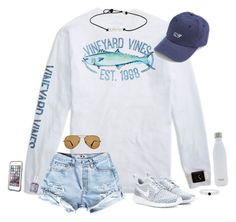 """""""This is a boys shirt but whatever, it's cute """" by hopemarlee ❤ liked on Polyvore featuring NIKE, Essie, Ray-Ban, S'well, Vineyard Vines, LifeProof, women's clothing, women, female and woman"""