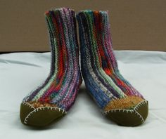 Knitted Childrens and baby slippers Leather by knitogethersox, £16.00