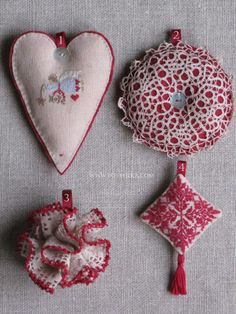 Christmas tree ornaments by Botthéka - 1. Cross stitch pattern: Nikyscreation 2013 Christmas Contest - 2. Vintage circle lace - 3. Lace ribbon with crochet edge: Botthéka with tutorial - 4. Cross stitch pattern: Luli