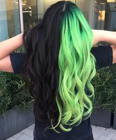 Perfect Hair Color Combinations & Styles In 2019 If you are ready to change your Hair Color Styles in the Modern year of Then here you can choose the Best Ideas and Stunning Hair Color Combinations to lighten up your look in the next occasion. Perfect Hair Color, Hair Color For Black Hair, Cool Hair Color, Perfect Makeup, Black And Green Hair, Neon Green Hair, Vivid Hair Color, Funky Hair, Black Colored Hair