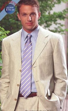 Beautiful Linen Tan Suit in 3 Button Style, Double Vented, Only $189.99