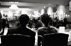 Love how this is shot from behind the bride & groom so that you can see it from their view with the guests in the background. Groom Looks, Happily Ever After, Bride Groom, Wedding Photos, Wedding Photography, Black And White, Concert, Pictures, Inspiration