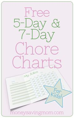 These Chore Chart Packs include 5-day and 7-day charts in different color schemes. There is space for seven to eight chores to be completed each week. Each chore chart is customizable. You can fill out the information on the computer, then print out the forms for your personal use.