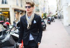 Cannes Film Festival #streetstyle | LIGHT BLUE SHIRT | A more dress up look with black suit.