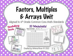 Factors, Multiples & Arrays Unit (multiplication practice pack) - 8 vocabulary word wall cards & 20 worksheets