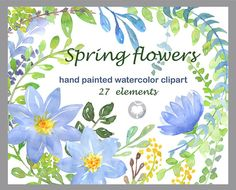 Spring flowers  Clip Art handmade watercolor clipart by AqwaColor