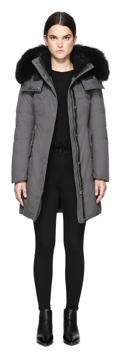 KERRY-B WINTER DOWN COAT WITH SHEEPSKIN AND FUR IN SLATE