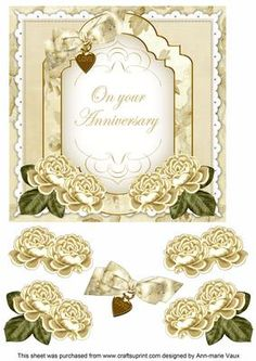 Cream Rose Anniversary Fancy 7in Decoupage Topper on Craftsuprint - Add To Basket!
