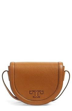 Tory Burch 'Serif T' Leather Saddle Bag available at #Nordstrom