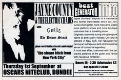 Jayne County & The Electric Chairs. Flyers Tickets, Dundee, Nightclub, Oscars, Electric, Chairs, Scene, Academy Awards, Stage