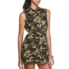 Casual Stand Collar Sleeveless Camo Dress For Women (47 BAM) ❤ liked on Polyvore featuring dresses, brown sleeveless dress, camoflage dresses, camoflauge dress, camo print dress and camo dresses