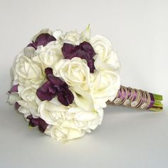 Real Touch Bridal Bouquet White Roses Calla by TimelessWedding, $195.00