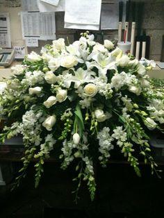 Rose Garden Florist -  Paducah Kentucky all white casket spray memorial flowers funeral flowers
