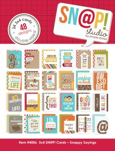 Simple Stories | Snappy Sayings | 3x4 SN@P! Cards