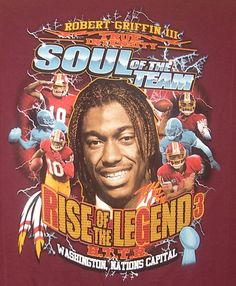 NEW! Robert Griffin III (RG3) T-shirt BURGUNDY LARGE REDSKINS SOUL OF THE TEAM