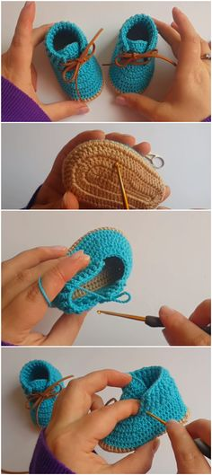 "Today we have a special baby booties tutorial for you. Tomorrow is my friend's babies birthday party.Read More ""Crochet Baby Booties Tutorial"" Crochet Baby Booties Tutorial, Knit Baby Booties, Crochet Baby Shoes, Crochet For Boys, Crochet Slippers, Love Crochet, Beautiful Crochet, Crochet Baby Clothes Boy, Tutorial Crochet"