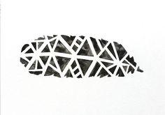 Original Tribal Geometric Black Feather Watercolor Painting
