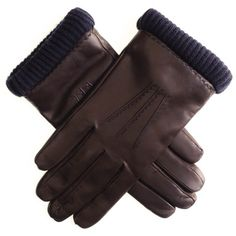 #Men's #Brown #Leather #Gloves with #Navy #Cashmere #Cuff
