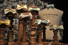 vintage bow ties on old wooden display stands