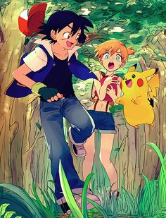 Ash and Misty and Pikachu, like this style and coloring