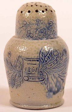 "Conestoga Auctions 2/21/15 lot 291.  Estimate: $5,000 – $10,000.  Sold: $48,400.  Description:  Very Fine and Rare, Probably One of a Kind, F.H. Cowden, Harrisburg, PA Stoneware Sgrafitto and Blue Slip Decorated Dome Top Pepperpot Dated 1861. Having cornucopia, floral, foliate, berry and scroll incised decoration washed in blue slip and salt glazed. Incised in base ""F.H. Cowden, Hr. (Harrisburg), Oct. 1861""."