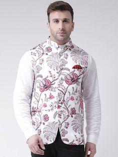 White printed cotton poly nehru jacket - Hangup - 2850978