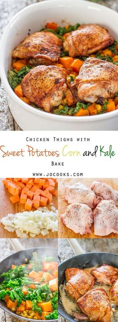 Chicken Thighs with Sweet Potatoes Corn and Kale Bake - use chicken breast (leaner) and less fat for Kayla's workout