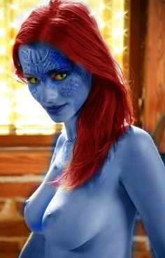 Are mystique body paint cosplay nude where logic?