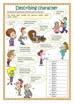Describing character (part worksheet - Free ESL printable worksheets made by teachers worksheet worksheet for kids worksheet student English Grammar Worksheets, Grammar And Vocabulary, Vocabulary Worksheets, English Vocabulary, Printable Worksheets, Preschool Worksheets, English Study, English Lessons, Learn English