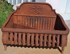 Antique Cast Iron Fireplace Coal Grate Basket with Fleur De Lis Yard Art Cast Iron Stove, Cast Iron Fireplace, Cast Iron Cookware, Gas Fireplace, Iron Fire Pit, Fire Pits, Fire Basket, Villas, Farmhouse Fireplace