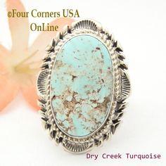Four Corners USA Online - Size 8 1/2 Dry Creek Turquoise Large Stone Ring Navajo Artisan Thomas Francisco NAR-1797, $260.00 (http://stores.fourcornersusaonline.com/size-8-1-2-dry-creek-turquoise-large-stone-ring-navajo-artisan-thomas-francisco-nar-1797/)