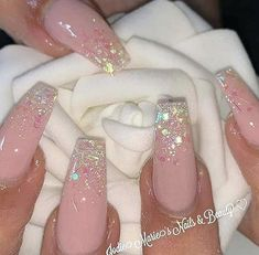 Pink polish, glitter polish on tips Baby Pink Nails With Glitter, Baby Pink Nails Acrylic, Acrylic Nail Designs Glitter, Purple Glitter Nails, Cute Pink Nails, Pink Ombre Nails, Best Acrylic Nails, Uñas Fashion, Fire Nails
